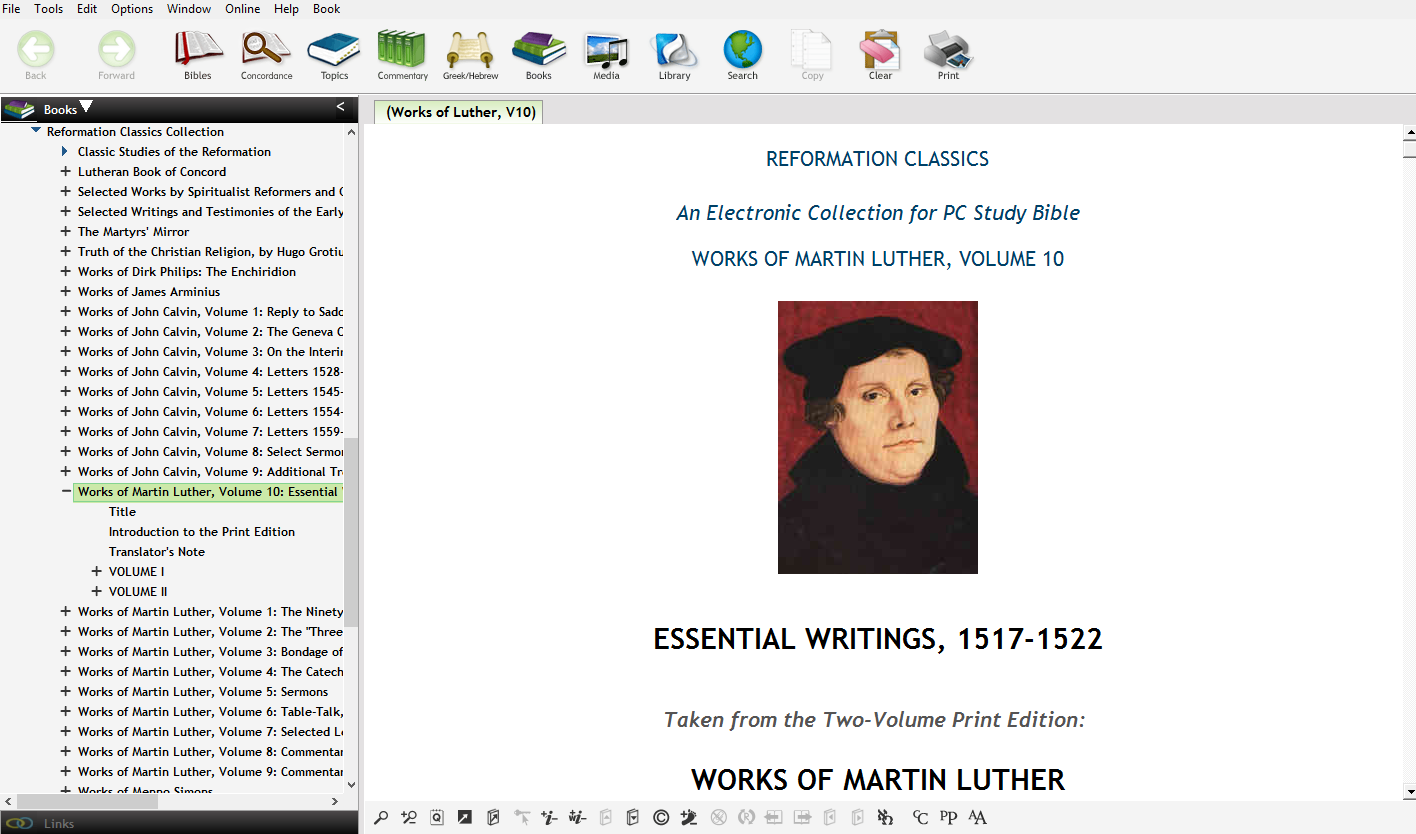 10 volumes of writings of Luther, including four new volumes