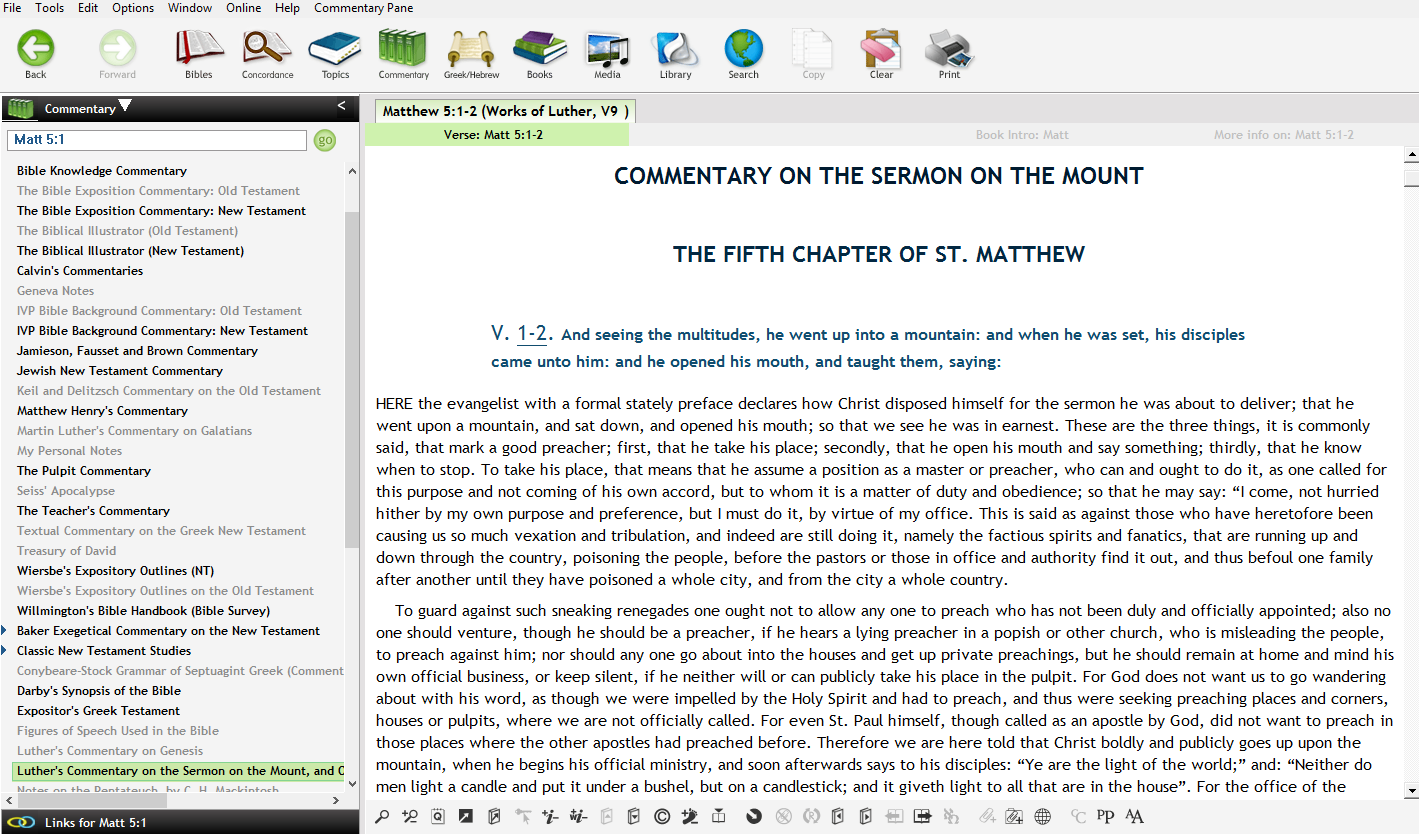 Commentaries on a number of Bible books (which can be accessed also directly under Commentary)