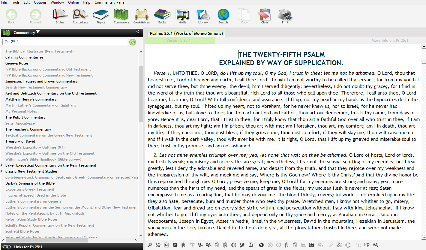 Expository passages can also be accessed by Bible verse under the Commentary menu.