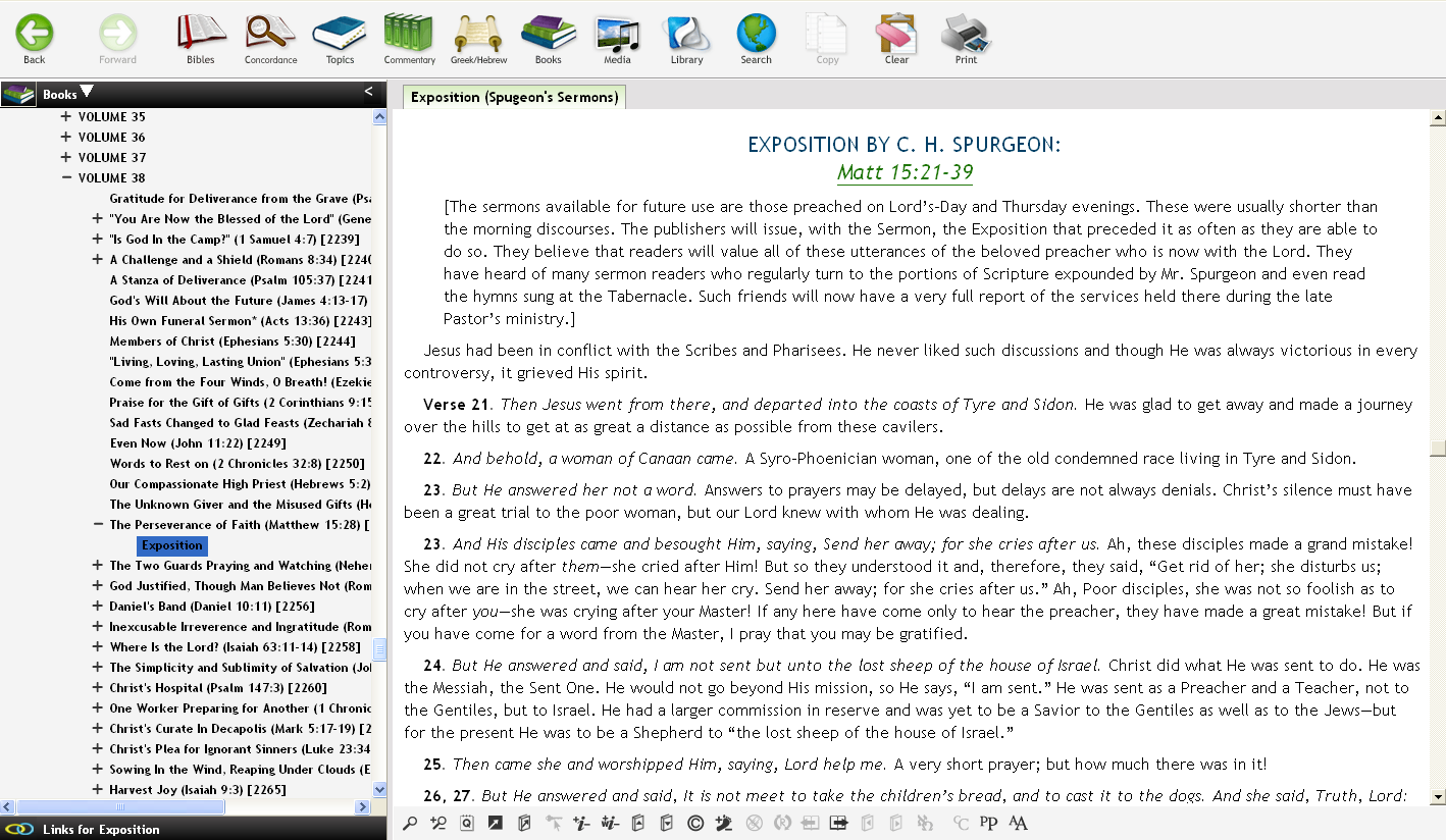 "Some Sermons include an ""Exposition"" section, consisting of Expository notes Spurgeon delivered prior to the Sermon"